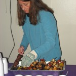 KATHERINE GREEN SERVING KABOBS CREATED BY CHEF RICHARD